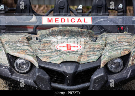 The military ambulance. Close up front view. - Stock Photo