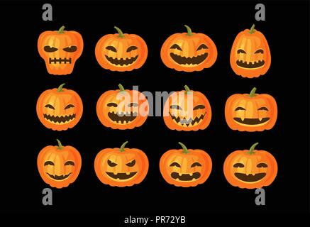 Funny pumpkins, set. Halloween symbol. Cartoon vector illustration - Stock Photo