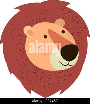 cute and adorable head lion character - Stock Photo