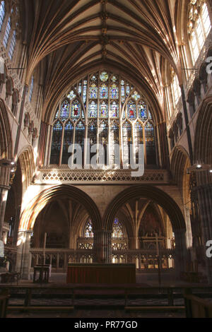 Interior of Exeter Cathedral Devon UK - Stock Photo