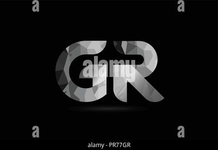 black and white alphabet letter gr g r logo combination design suitable for a company or business - Stock Photo