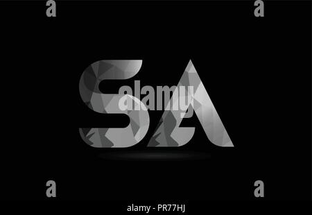 black and white alphabet letter sa s a logo combination design suitable for a company or business - Stock Photo