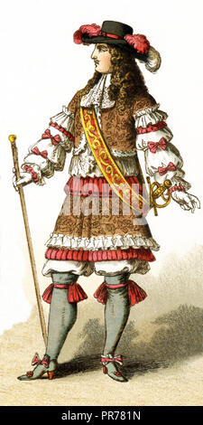 The Figure represented here is all Louis XIV in 1660. The illustration dates to 1882. - Stock Photo
