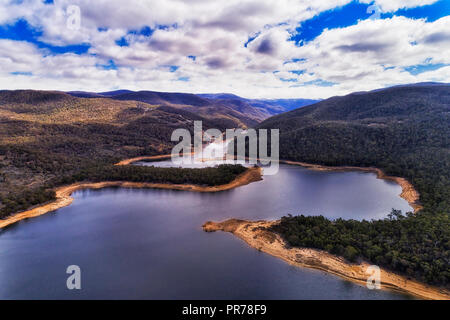 Delta of SNowy river entering Jindabyne lake fresh water reservoir formed by Jindabyne dam high in Snowy Mountains of Australia. - Stock Photo