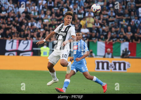 Torino , Piemonte , ITALY: 2018-09-29-  Italian Serie A football match Juventus - Napoli at the Allianz stadium in photo Paulo Dybala and Allan in act - Stock Photo