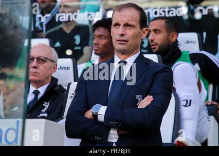 Torino , Piemonte , ITALY: 2018-09-29-  Italian Serie A football match Juventus - Napoli at the Allianz stadium in photo Coach Massimiliano Allegri (A - Stock Photo