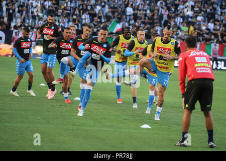 Torino , Piemonte , ITALY: 2018-09-29-  Italian Serie A football match Juventus - Napoli at the Allianz stadium in photo SSC Napoli pre match training - Stock Photo