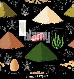 Sports nutrition seamless pattern. Protein food and protein powder. - Stock Photo
