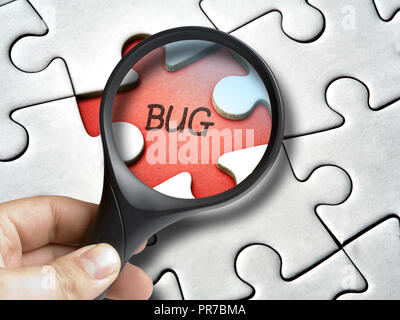 Magnifying glass on bug that is a missing tile of the puzzle - Stock Photo