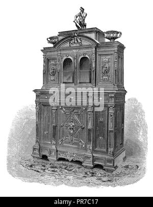 19th century illustration of gems of industrial art. Cabinet for objects of art. By Sauvrezy. Published in 'The Practical Magazine, an Illustrated Cyc - Stock Photo
