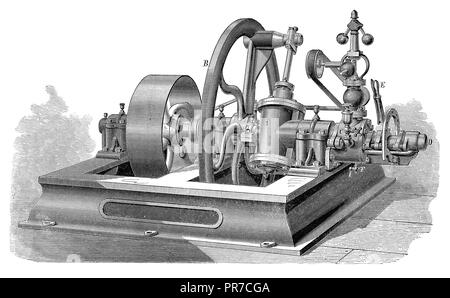 19th century illustration of Scott and Morton's revolting steam-engine. Published in 'The Practical Magazine, an Illustrated Cyclopedia of Industrial  - Stock Photo