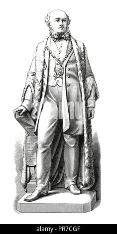 19th century illustration of a statue of Sir James Ramsden.  Sir James Ramsden (1822 – 1896) was a British civil engineer, industrialist, and civic le - Stock Photo
