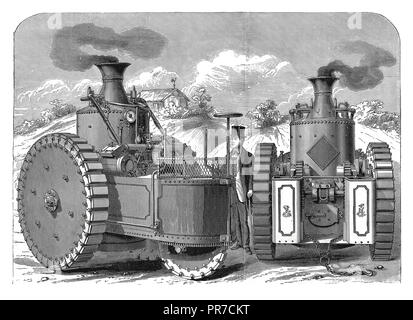 19th century illustration of the Road Steamer 'America', invented by Mr. George W. Fitts in the late 19th century, in USA. Published in 'The Practical - Stock Photo