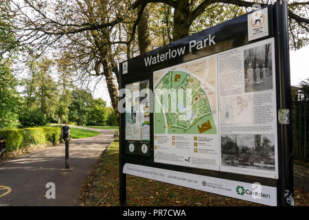 Interpretive sign at entrance to Waterlow Park in North London. - Stock Photo