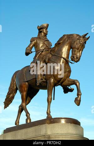 George Washington equestrian statue (by Thomas Ball) in Public Garden, Boston Common Park, Boston, Suffolk County, Massachusetts, USA - Stock Photo