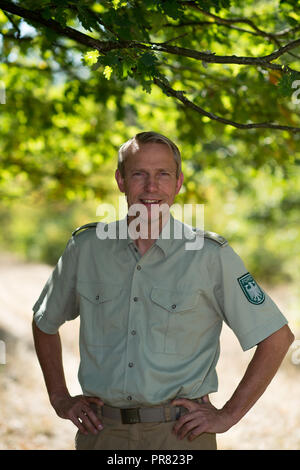 18 September 2018, Saxony-Anhalt, Colbitz: The forestry director Rainer Aumann, head of the Federal Forestry Company Northern Saxony-Anhalt, stands on the military training area Altmark in the Letzlinger Heide near Colbitz. There is a bat quarter which had been set up in a former Soviet bunker as a compensatory measure for the construction of the A14 motorway. Photo: Klaus-Dietmar Gabbert/dpa-Zentralbild/dpa - Stock Photo