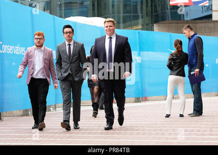 Birmingham, UK. 30th September 2018. Tory party delegates arrive for the first day of the Conservative Party Conference at the ICC in Birmingham  - Photo Steven May / Alamy Live News - Stock Photo