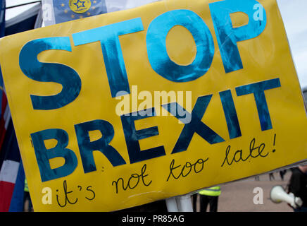 Birmingham, UK. 30th September 2018. A sign reads Stop Brexit at an anti-Brexit rally in Birmingham's Victoria Square near to the Conservative Party Conference in Birmingham. © Russell Hart/Alamy Live News. - Stock Photo