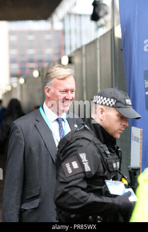 Birmingham, UK - 30th Sept 2018. Conservative MP Bill Wiggin ( North Herefordshire ) arrives amid the high security on the first day of the Conservative Party Conference at the ICC in Birmingham  - Photo Steven May / Alamy Live News - Stock Photo