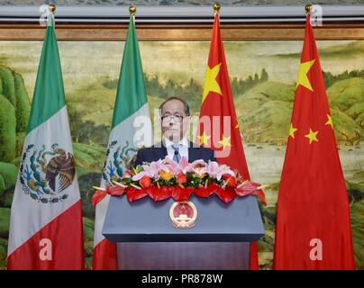 Mexico City, Mexico. 26th Sep, 2018. China's Ambassador to Mexico Qiu Xiaoqi speaks during a reception celebrating the 69th anniversary of the founding of the People's Republic of China in Mexico City, capital of Mexico, Sept. 26, 2018. Credit: Xin Yuewei/Xinhua/Alamy Live News - Stock Photo