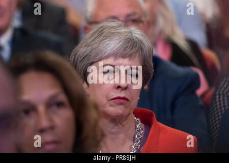 Birmingham, UK. 30th Sep 2018. 30 September 2018 - Prime Minister Theresa May closes her eyes, looking sleepy, at Conservative Party Conference 2018 - Day One (Birmingham) Credit: Benjamin Wareing/Alamy Live News - Stock Photo