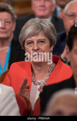 Birmingham, UK. 30th Sep 2018. 30 September 2018 - Prime Minister Theresa May at Conservative Party Conference 2018 - Day One (Birmingham) Credit: Benjamin Wareing/Alamy Live News - Stock Photo