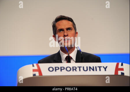 Birmingham, UK. 30th September, 2018.  Gavin Williamson MP, Secretary of State for Defence, delivers his speech to conference on the opening session of the first day of the Conservative Party annual conference at the ICC.  Kevin Hayes/Alamy Live News - Stock Photo