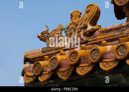 Decorative details of the Palace Museum inside the Forbidden City, a UNESCO world heritage site, Beijing, China - Stock Photo