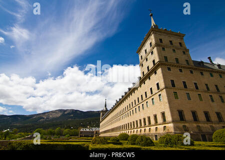 Royal Monastery of San Lorenzo de El Escorial near Madrid. View of the main building from the back gardens. - Stock Photo