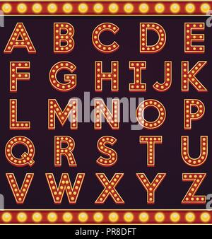 Letter alphabet sign marquee light bulb vintage carnival or circus style - Stock Photo