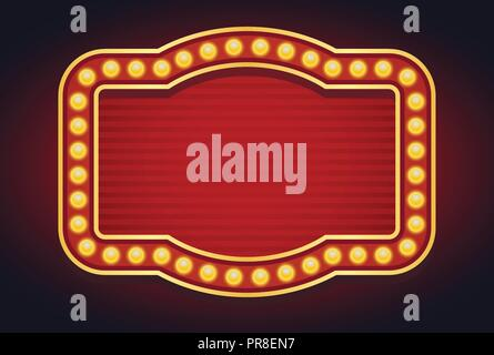 Light sign marquee bulb glowing vintage style - Stock Photo