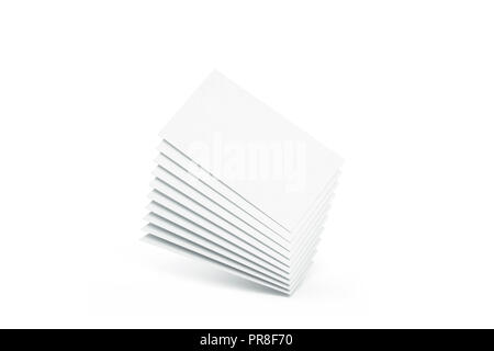 Blank white calling business cards heap mockup, 3d rendering. Empty namecard stack mock up. Clear contact papers pile template. Visiting papersheet for company name, phone number, email address. - Stock Photo