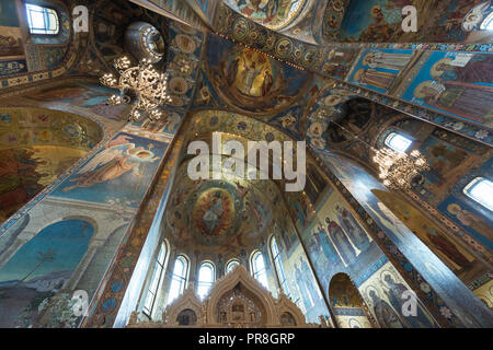ST PETERSBURG, RUSSIA - 05 JUNE, 2018:  Horizontal picture of the painted walls with religious theme inside Church of the Savior on Spilled Blood, loc - Stock Photo