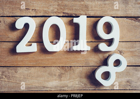 New year 2019 word on wooden table. New Year concept. - Stock Photo
