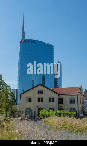 Milan Italy September 26th 2018:new directional district, Piazza Gae Aulenti in Milan - Stock Photo