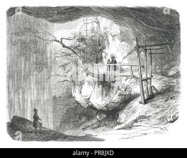 19th century illustration of a view of the Cascade Giessbach, in the Bernese Oberland - drawing after nature, by Karl Girardet. Original artwork publi - Stock Photo