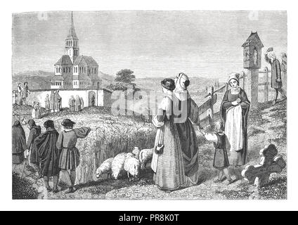 19th century illustration of a scene where village people in old Germany going to church. Original artwork published in Le magasin Pittoresque by M. A - Stock Photo