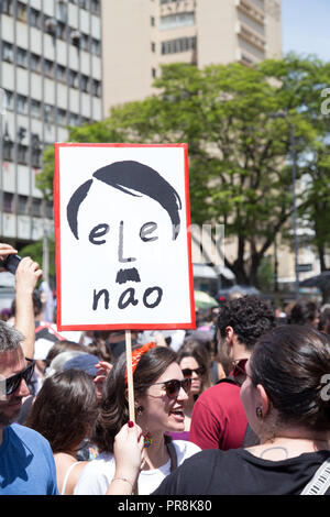 September 29, 2018. #nothim (elenão) mobilization. Woman protests in Campinas (SP) against Brazil far-right presidential candidate Jair Bolsonaro - Stock Photo