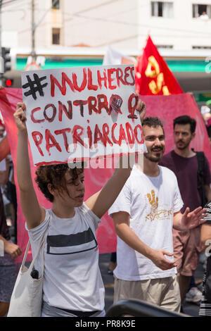 September 29, 2018. #nothim (elenão) mobilization. Woman protests against Brazil far-right presidential candidate Jair Bolsonaro - Stock Photo