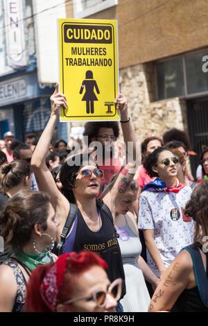 September 29, 2018. Nothim (elenão) mobilization. 'Beware: women at work'.Woman protests against far-right presidential candidate Jair Bolsonaro - Stock Photo