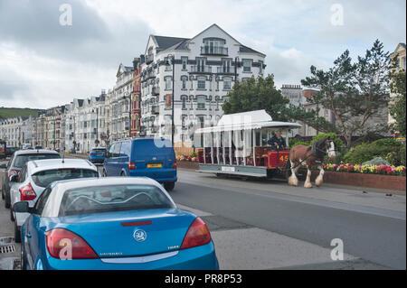 Horse drawn tram, Promenade, Isle of Man. - Stock Photo