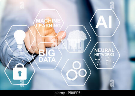machine learning and artificial intelligence technology - Stock Photo