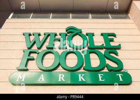 Whole Foods Market logo or sign in Markham, Ontario, Canada. - Stock Photo