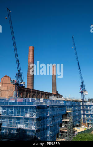 Lots Road power station being redeveloped into executive homes - Stock Photo