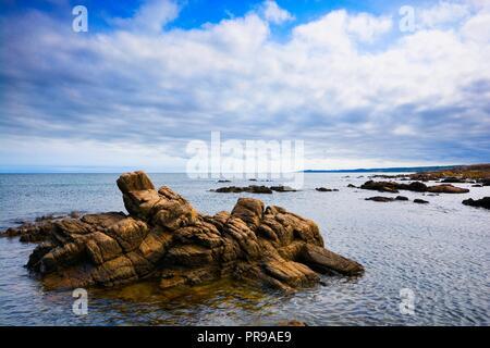 Rocky coast of Baltic Sea in Allinge, Bornholm, Denmark - Stock Photo