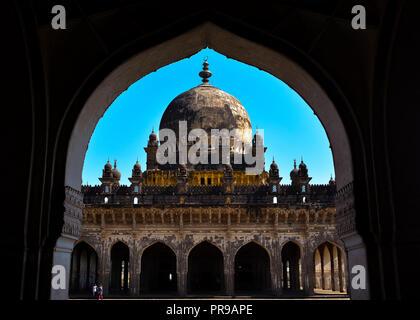 Ibrahim Rauza - Tomb of Ibrahim Adil Shah II in Bijapur, Karnataka (India) - Stock Photo