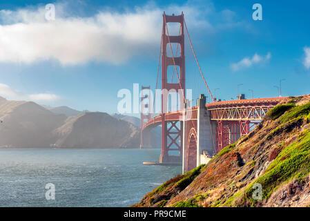 Golden Gate Bridge at sunset, San Francisco - Stock Photo