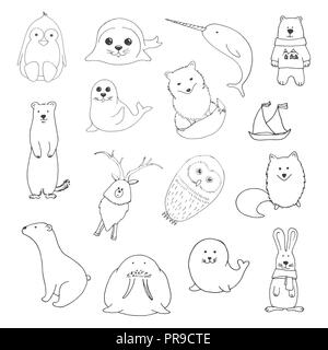 Sketch various northern animals. Large set. Vector illustration in doodle style. - Stock Photo