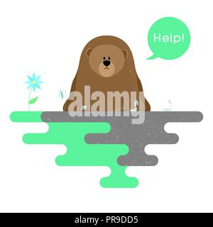 Illustration on the theme of pollution of the planet. Vector - Stock Photo