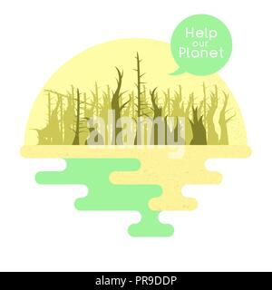Illustration on the theme of global warming. Vector - Stock Photo